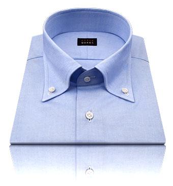 ノーネクタイでも首元がスッキリまとまりやすい襟型:ボタンダウン。
